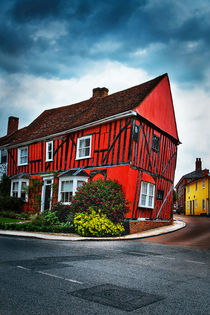Red frame house in Lavenham, England. by Katarjina Telesh