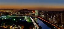 Brazil - Sao Paulo Skyline at Dusk - Pinheiros River towards Jaragua by Carlos Alkmin
