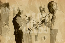 Two Trumpeter. Jazz Club Poster von cinema4design