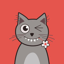 Funny Winking Cartoon Kitty Cat by Boriana Giormova