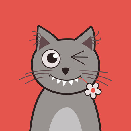 funny winking cartoon kitty cat graphic illustration art prints and