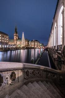 Hamburg Weihnachtsmarkt Rathaus mit Alsterarkaden von elbvue von elbvue