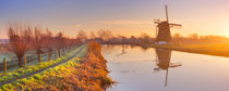 Traditional Dutch windmill near Abcoude, The Netherlands at sunrise by Sara Winter