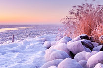 Frozen lake Markermeer, The Netherlands at sunrise by Sara Winter