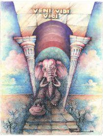 Deep purple elephant running through triumph arch von Peter Budkin