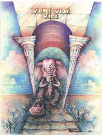Deep purple elephant running through triumph arch by Peter Budkin