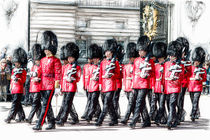 Marching guards at Buckingham palace in London by Andrew Michael