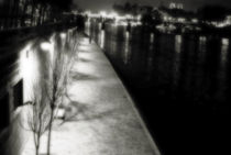 Seine sidewalk at night by Guy Jean Genevier