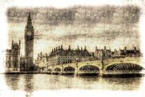 Westminster Bridge and Big Ben Vintage von David Pyatt