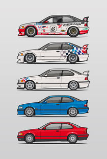 Stack of BMW 3 Series E36 Coupes von monkeycrisisonmars