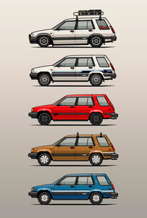 Stack of Toyota Tercel SR5 4WD AL25 Wagons by monkeycrisisonmars