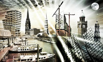 Hamburg Skyline Collage  by Städtecollagen Lehmann