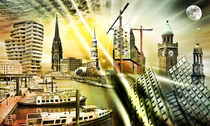 Hamburg Skyline Collage 02 by Städtecollagen Lehmann