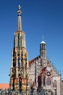 Nürnberg, Nuremberg, Schöner Brunnen und Frauenkirche von Norbert Probst