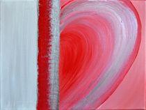 Herzbild, rot-silber by Renate Münch