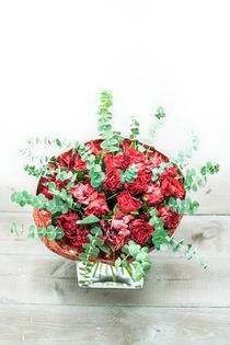 Bouquets of roses, lilies and green branches. by Marina Dvinskykh