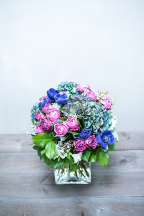 Bouquet of roses, poppies, hydrangeas and white flowers. by Marina Dvinskykh