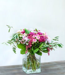 Bouquet of roses, chrysanthemums and pink pepper. by Marina Dvinskykh