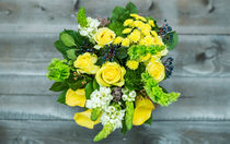 Bouquet of roses, calla lilies, white flowers and bird cherry. by Marina Dvinskykh