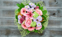 Bouquet of roses, chrysanthemums, gerberas and pink pepper von Marina Dvinskykh