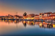 The port in Aegina after sunset, Greece by Constantinos Iliopoulos