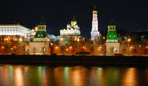 View of the Moscow Kremlin from the Moskva river, at night  by Yuri Hope