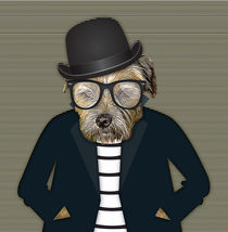 Hipster Border Terrier Dog by Tanya  Hall