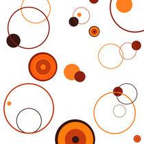 Orange Retrostil Kreise auf weißem Grund von Christine Bässler