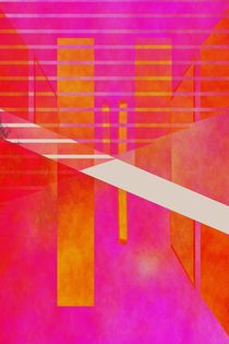 Abstrakte Geometrie pink orange von Christine Bässler