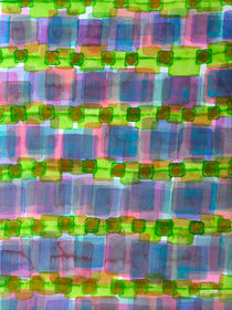 Purple Square Rows with Fluorescent Green Strips von Heidi  Capitaine