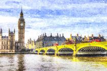 Westminster Bridge and Big Ben Art von David Pyatt