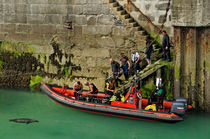 Boarding The Dive Boat, Newquay Harbour by Rod Johnson