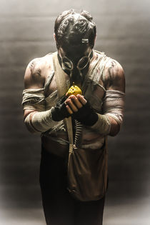 gas mask man with pear by Ales Munt