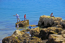 Fishing from the Rocks, Seaview by Rod Johnson