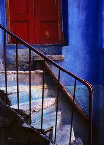 Red Door, Blue Wall by Alan Mogensen