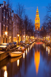 Church and a canal in Amsterdam at night by Sara Winter