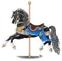Black Carousel Horse by Sandra Gale