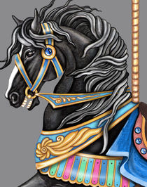 Black Carousel Horse Close UP by Sandra Gale