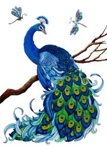 Blue Peacock with Dragonflies by Sandra Gale