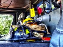 Two Firefighter's Helmets Inside Fire Truck von Susan Savad