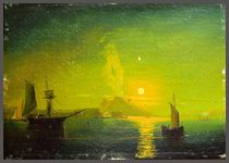 Eruption of Mount Vesuvius in the Bay of Naples. Copy from paintings by Aivazovsky by Yuri Hope