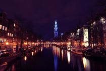 Westerkerk in Amsterdam Netherlands by night by nilaya