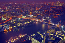 London rooftop view panorama in the UK at night by nilaya