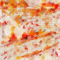 Kubismus abstrakt orange und rot Version 1 von Christine Bässler