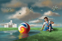Girl-with-jacks-ball-in-the-parks-pond-artflakes