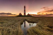 Leuchtturm Westerhever an der Nordsee von Dennis Stracke