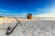 Auf dem Trockenen am Strand von Usedom Ostsee