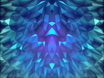 Deep Blue Collosal Low Poly Triangle Pattern -  Modern Abstract Cubism  Design by badbugsart