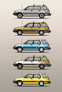 Stack Of Mark's Toyota Tercel Al25 Wagons by monkeycrisisonmars