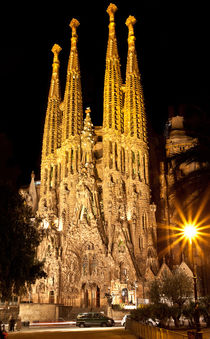 Sagrada Familia Cathedral in Barcelona in night by Sergey Tsvetkov